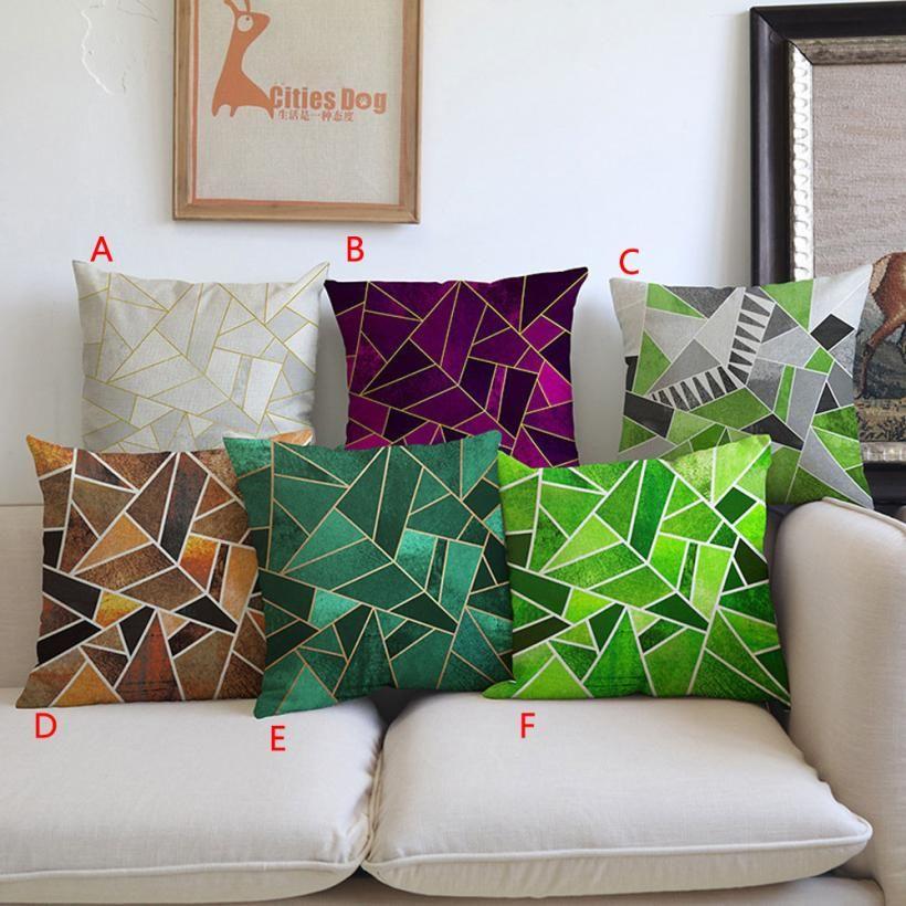 Cuscini Verdi Per Divano.Cheap Cassa Del Cuscino Decorativo Geometrica Verde Blu Cuscino