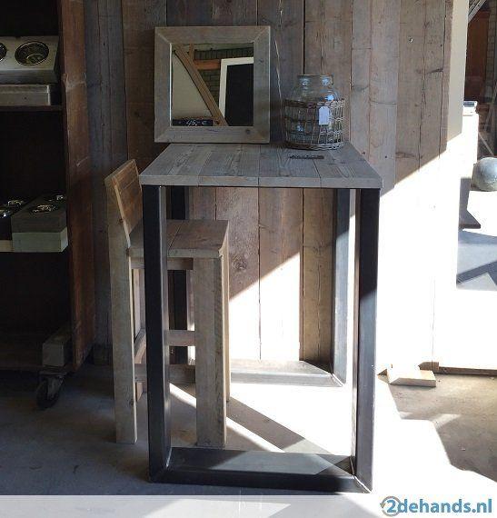 Hoge tafel bartafel industrieel staal hout op maat for Hoge eettafels