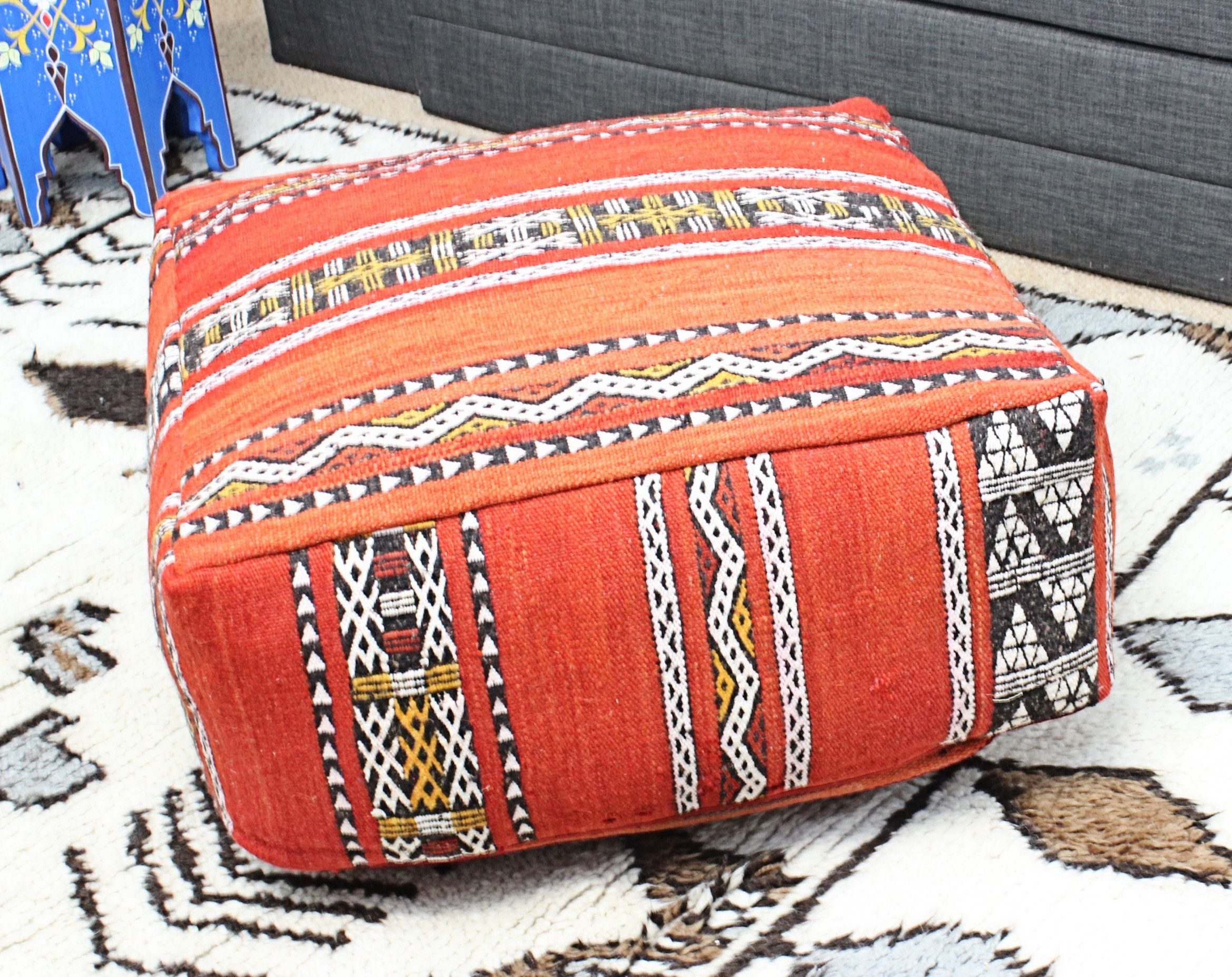 Moroccan Kilim Pouf Pouffe Footrest Xl Floor Cushion Pillow Cover