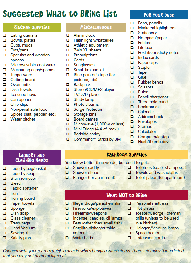 What Should You Bring With You When Moving Into Our Residence