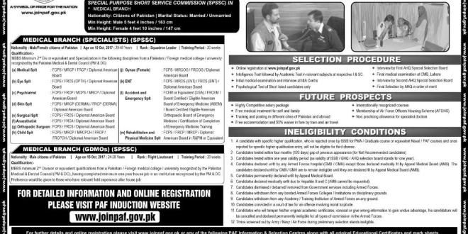 Pakistan Air Force Pakistan Jobs 2017 Medical Branches Dental Surgeon Online Registration