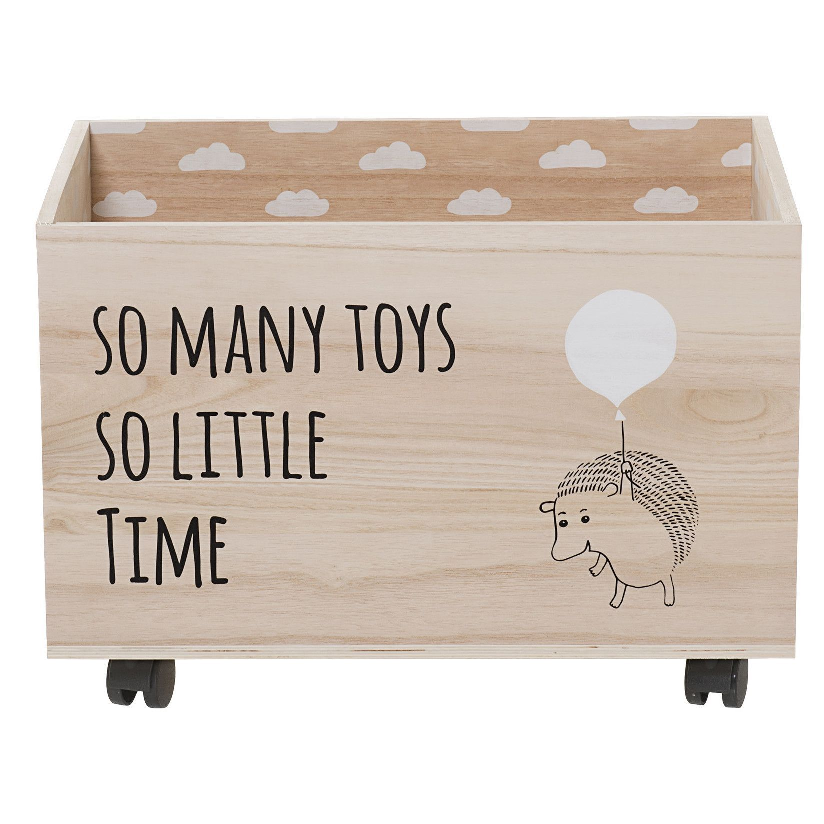 Features Material Paulownia Wood Color Natural With Black And White Text Image Text Reads So Many Toys Wooden Toy Boxes Wood Storage Box