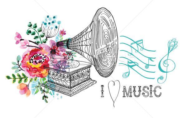 ストックフォト: ヴィンテージ · 蓄音機 · レコードプレーヤー · フローラル · 飾り · 美しい