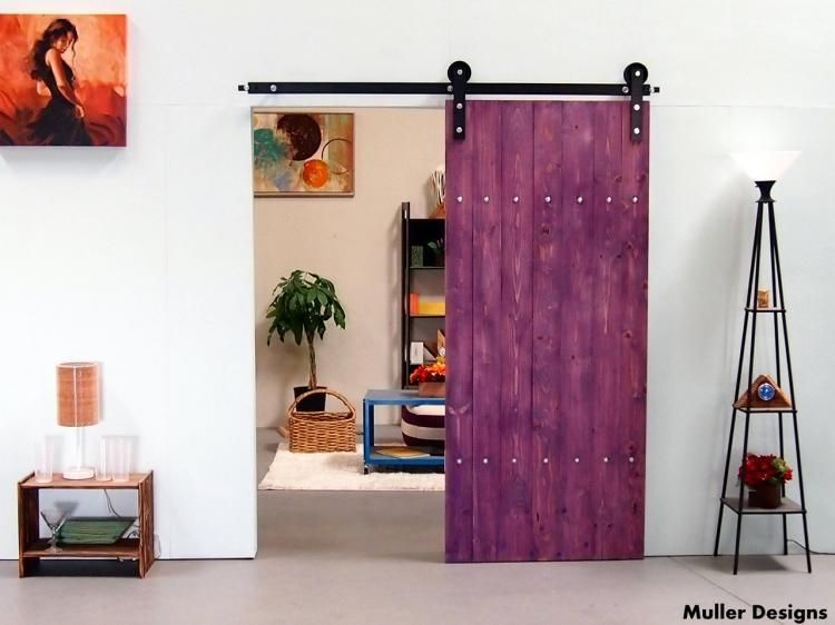 Perfect Sliding Single Barn Door Kit   Purple