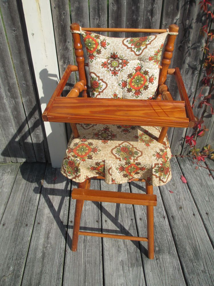 Vintage 1960s Cass Toys Wood Wooden Doll High Chair With