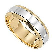 Two-Tone 14kt Gold Lieberfarb Classic Wedding Band