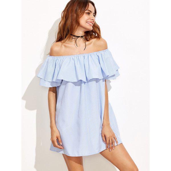 ccad308ca8c3 SheIn(sheinside) Vertical Striped Layered Flounce Bardot Dress (960 INR) ❤  liked