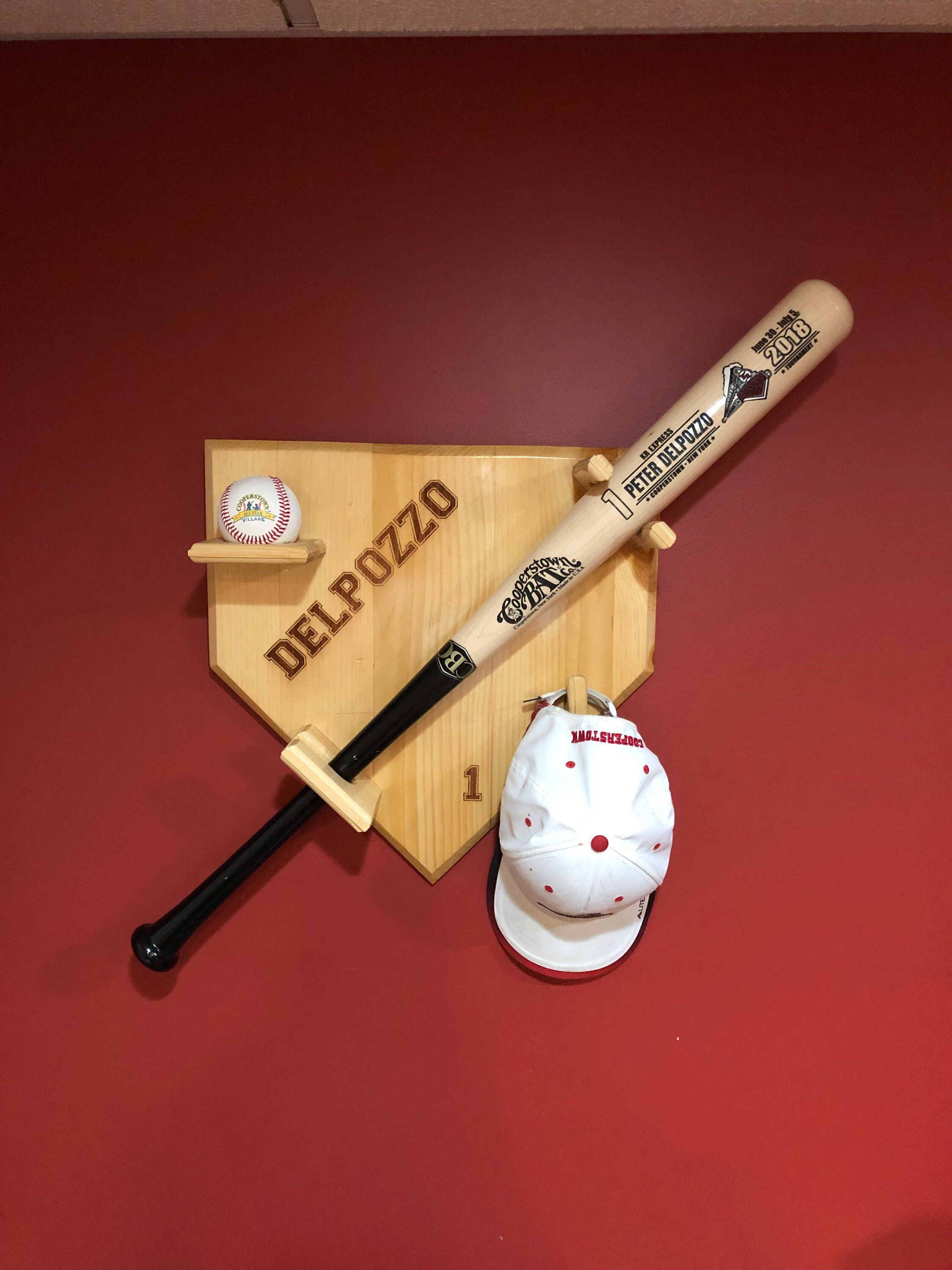 Custom Baseball Bat And Ball Wall Display Personalized Hand