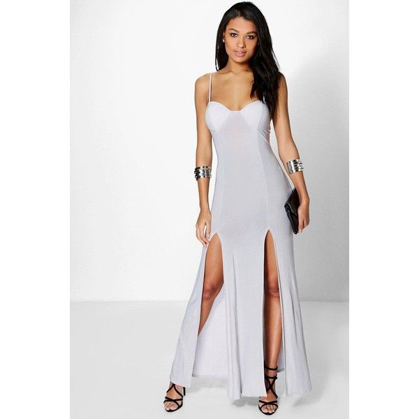Boohoo Night Katie Slinky Bodice Split Maxi Dress $35 ❤ liked on Polyvore featuring dresses gowns grey sequin gown maxi dress sequin bodycon dress bodycon party dresses and sequin dress