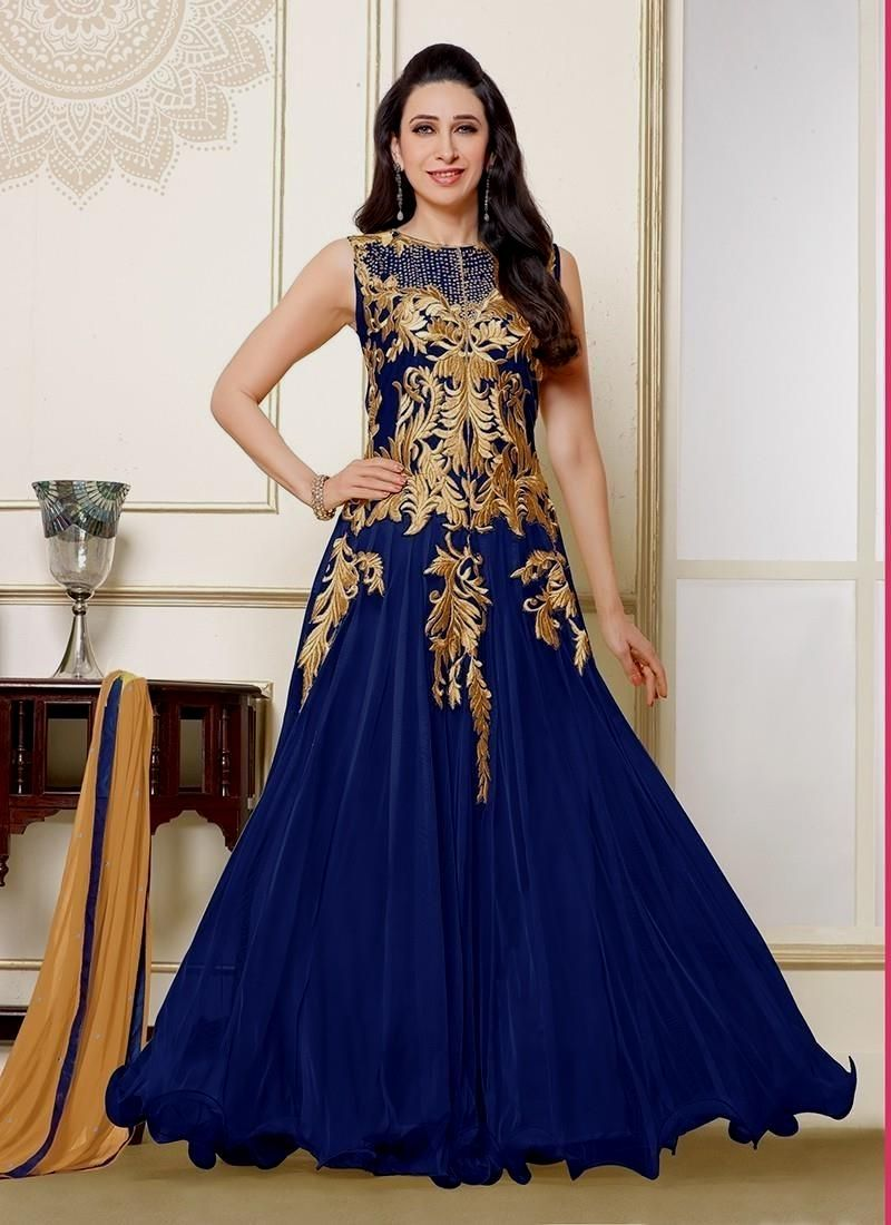 Navy Blue Indian Dress Gowns, Indian wedding dress