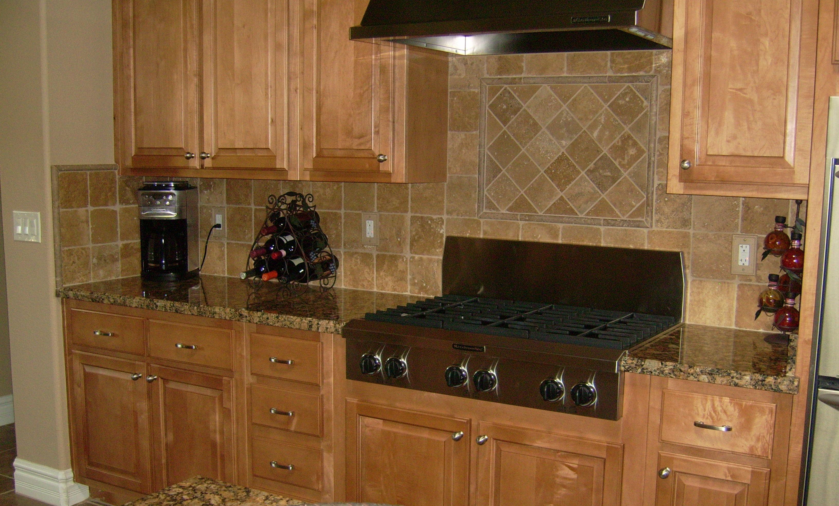 backsplash for medium hickory cabinets | Kitchen Tile Backsplash ...
