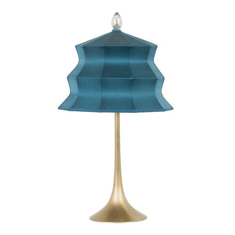 Pagoda Contemporary Table Lamp Sky Silk Silvered Crystal Tip Brass Lamp Table Lamp Contemporary Table Lamps