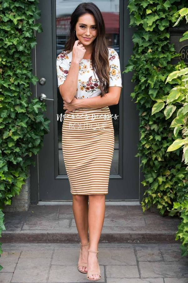 Today's Your Day Striped Pencil Skirt