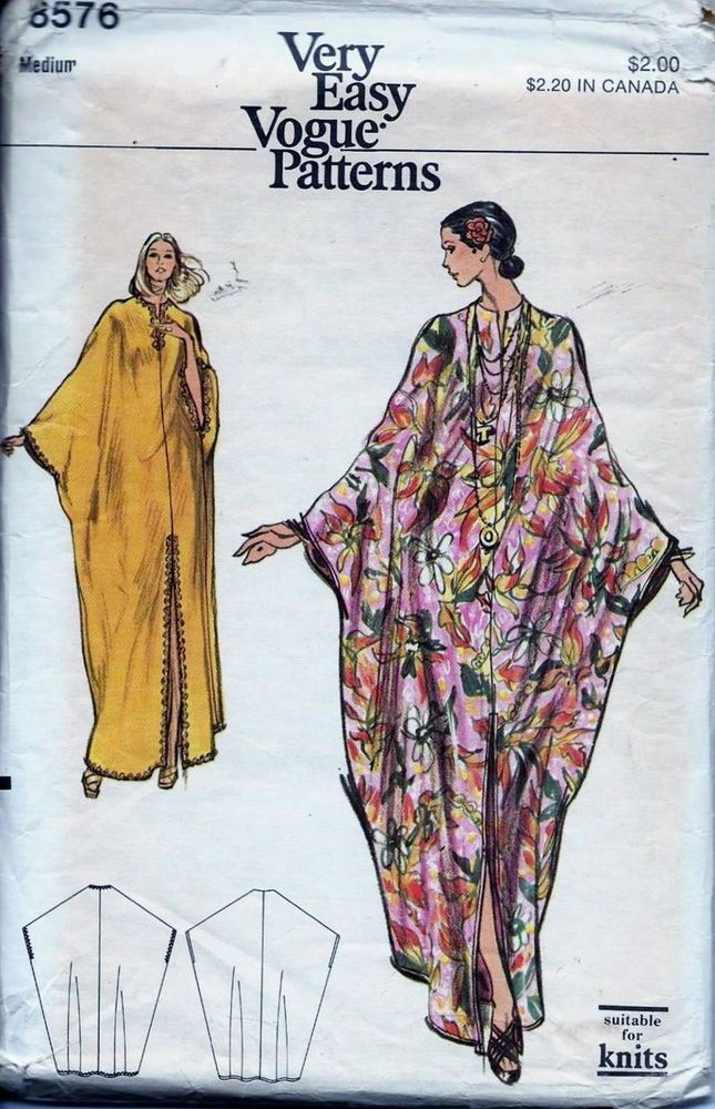 Vintage+Vogue+60s+70s+CAFTAN+DRESS+Sewing+Pattern+8576+Medium+ ...