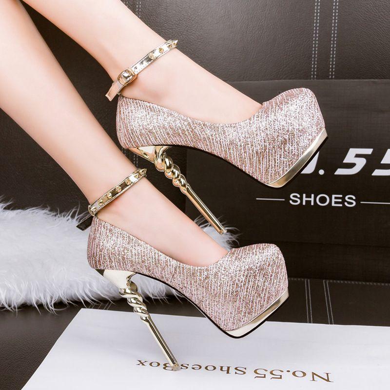 e81a408105a high heels sexy pumps silver wedding shoes women gold heels platform shoes  studded heels evening party