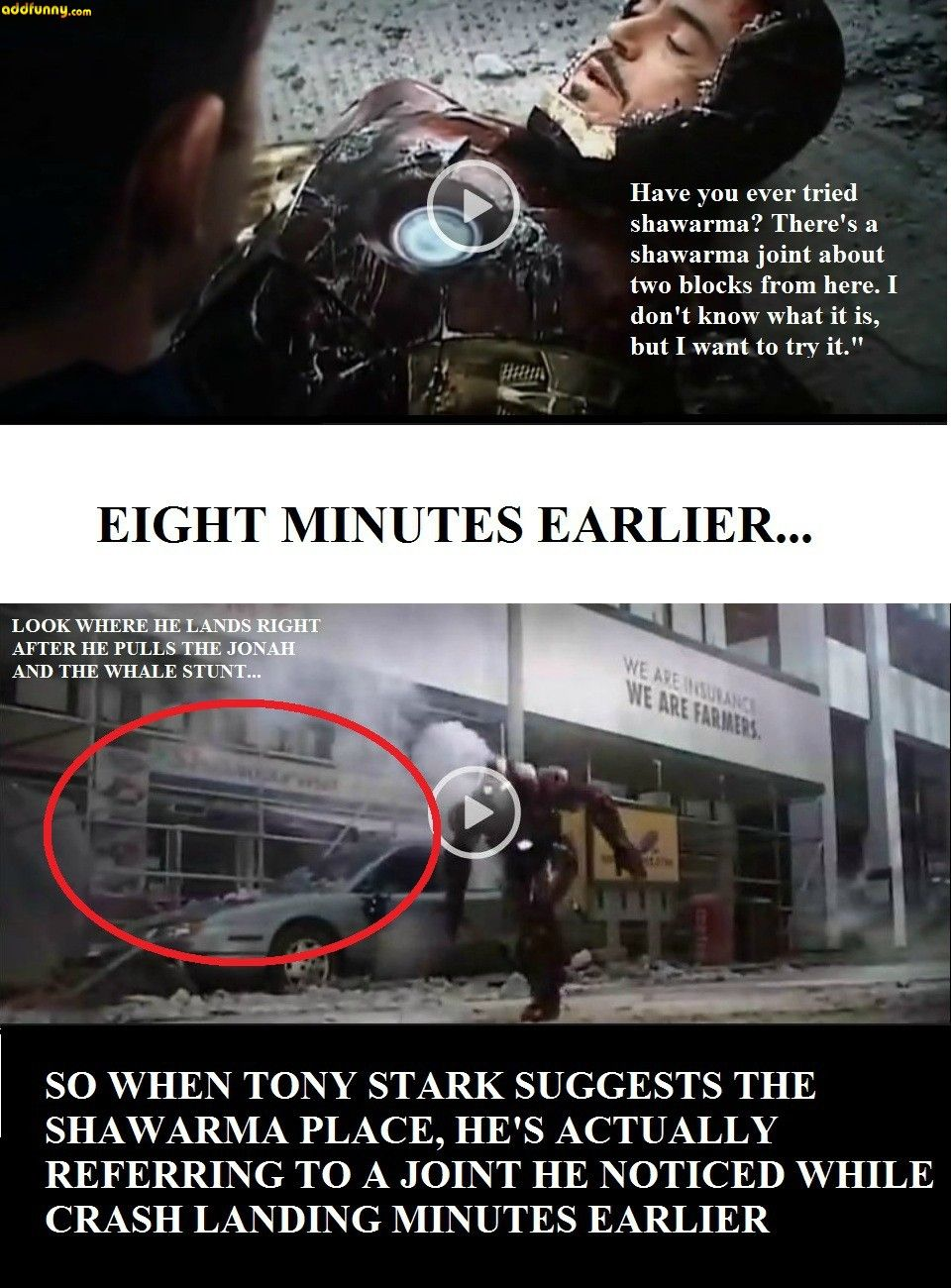 Did Anyone Else Notice That When Tony Stark Mentioned Shawarma In The Avengers Hodgepodge Funny Pictures Niadd Marvel Marvel Movies Avengers