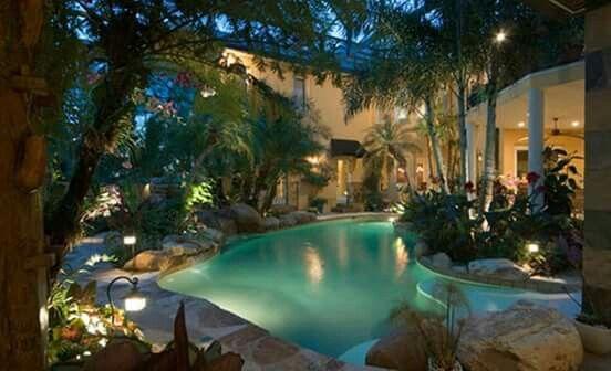 Wunderbar Garten, Tropischer Garten, Gartenpools, Gartenpool, Garten Pool Designs,  Terassenideen, Outdoor Ideen, Kleine Höfe, Naturschwimmbäder