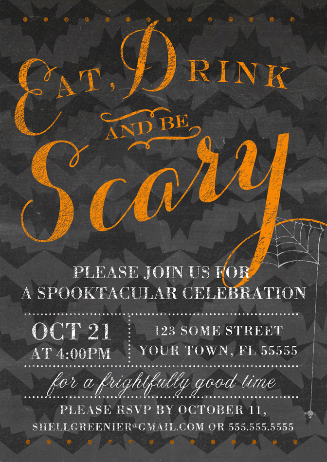 Chalkboard Halloween Party Invitation Eat Drink And Be Scary - Party invitation template: halloween costume party flyer