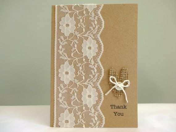Rustic wedding thank you cards burlap and lace shabby chic – Wedding Thank You Cards Uk