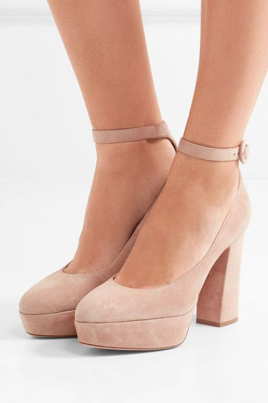 7324d23a244c Gianvito Rossi - Suede Platform Pumps - Neutral