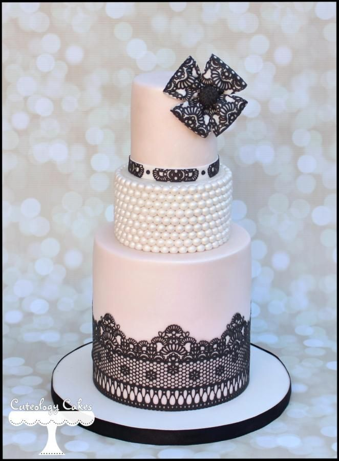 Lace+and+Pearls+-+Cake+by+Cuteology+Cakes+