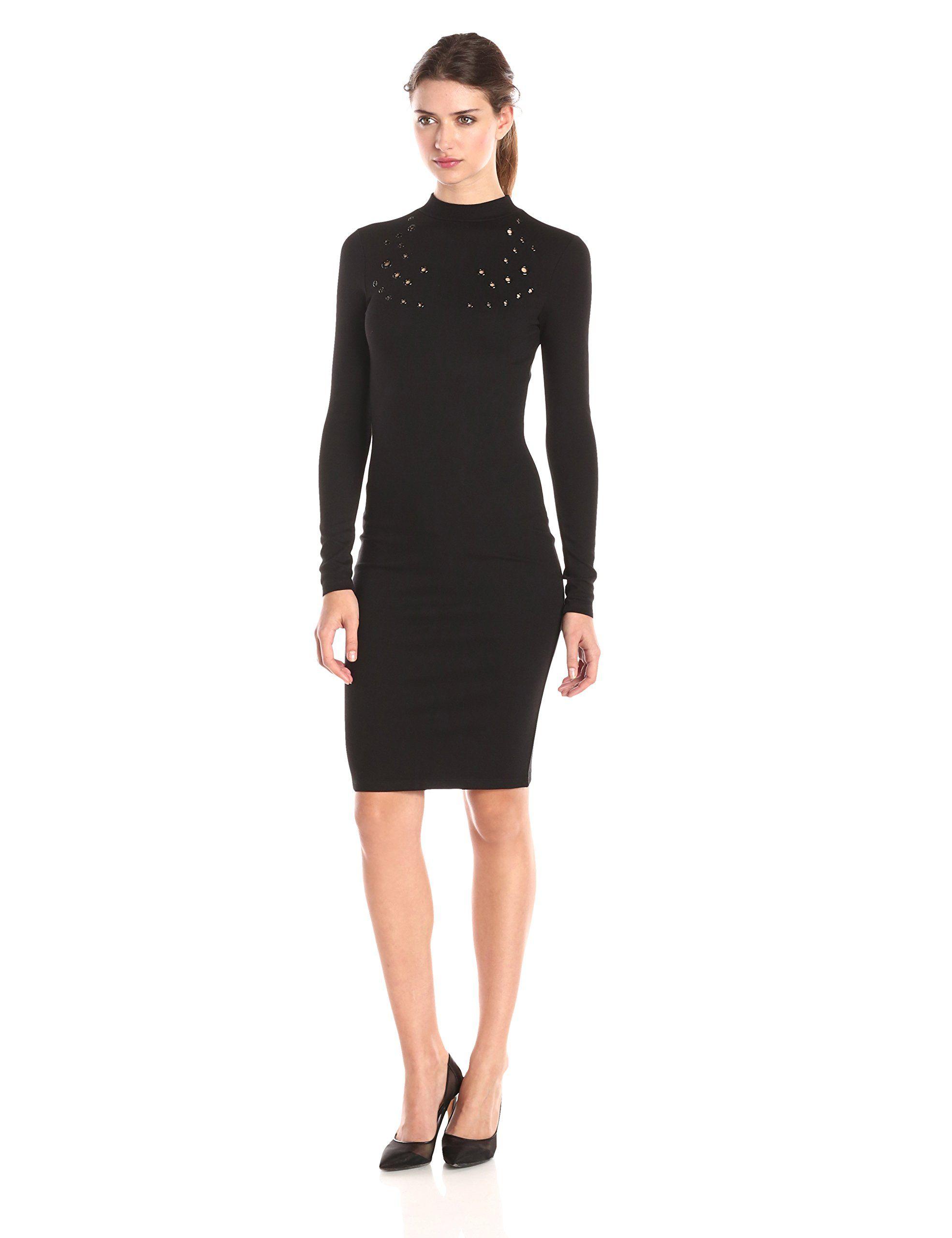 French connection womens ele eyelet midi long sleeve dress black