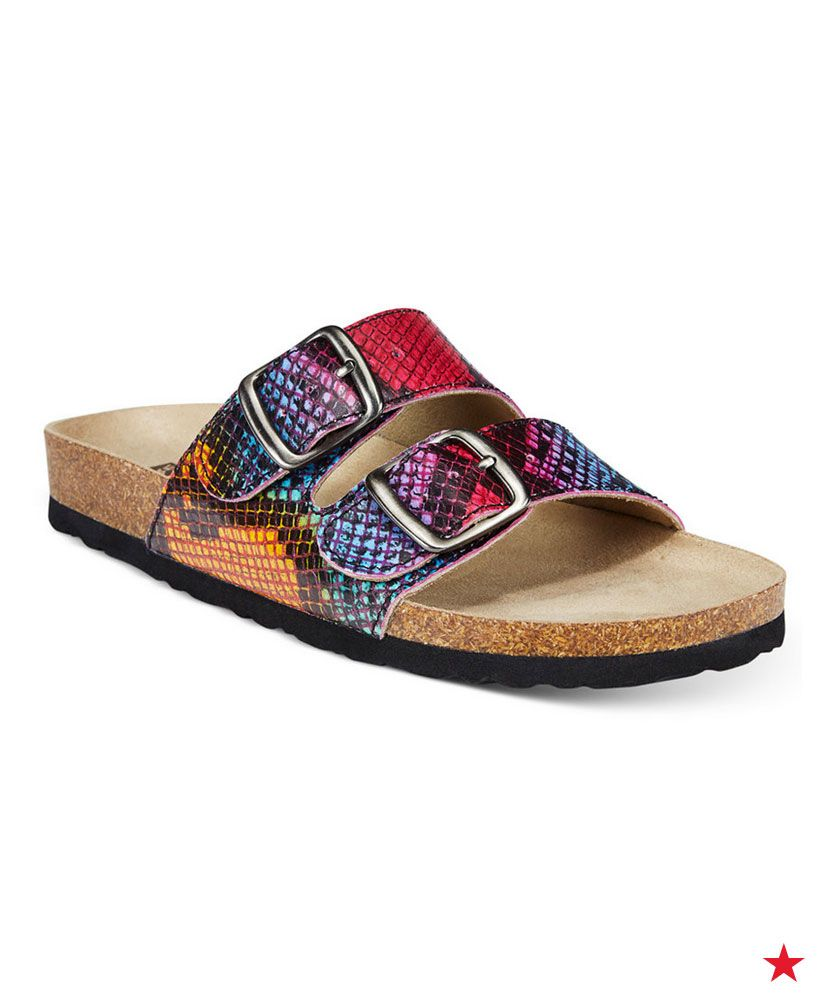 The Rainbow Snake Skin Pattern On These Footbed Sandals