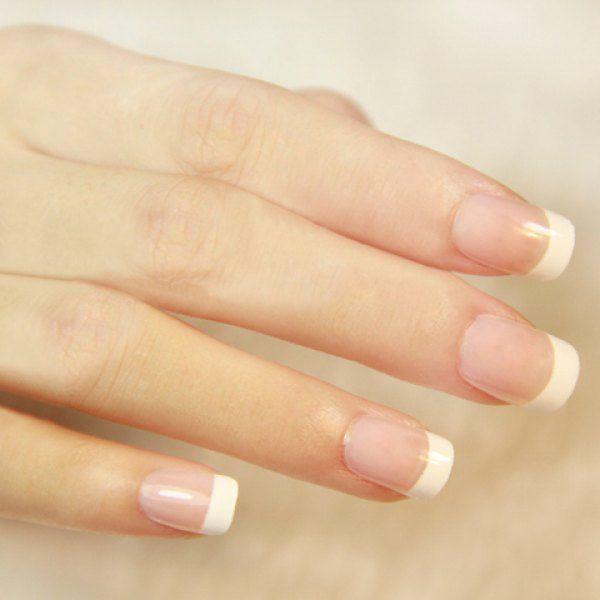 24 PCS Simple White Edge Design Nail Art False Nails | Designs nail art