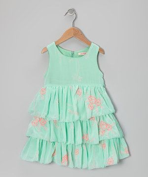68067a498bae Love this Mint Floral Tiered Dress - Girls by Paulinie on  zulily ...