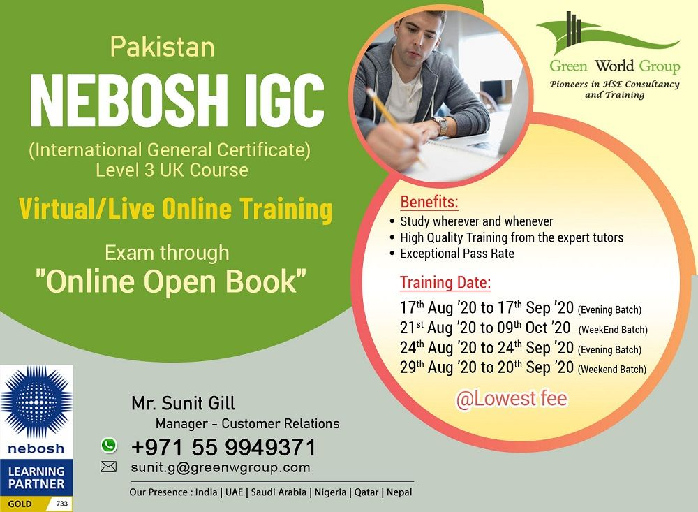 Nebosh Online Course in Pakistan in 2020 Safety courses