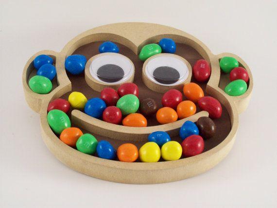 kids cartoon monkey wood plastic candy trinket jewelry dish for