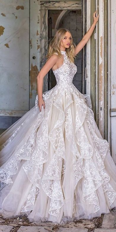 24 Top Wedding Dresses For Bride ❤  top wedding dresses ball gown halter neckline lace wona ❤   #weddingdresses