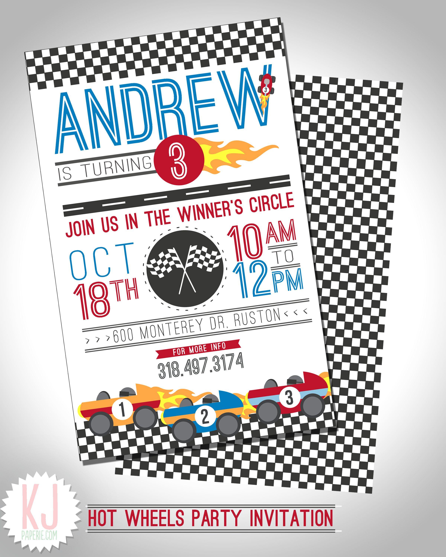 Hot Wheels Party Invitation kjpaperie.com | Asher\'s 2nd Birthday ...