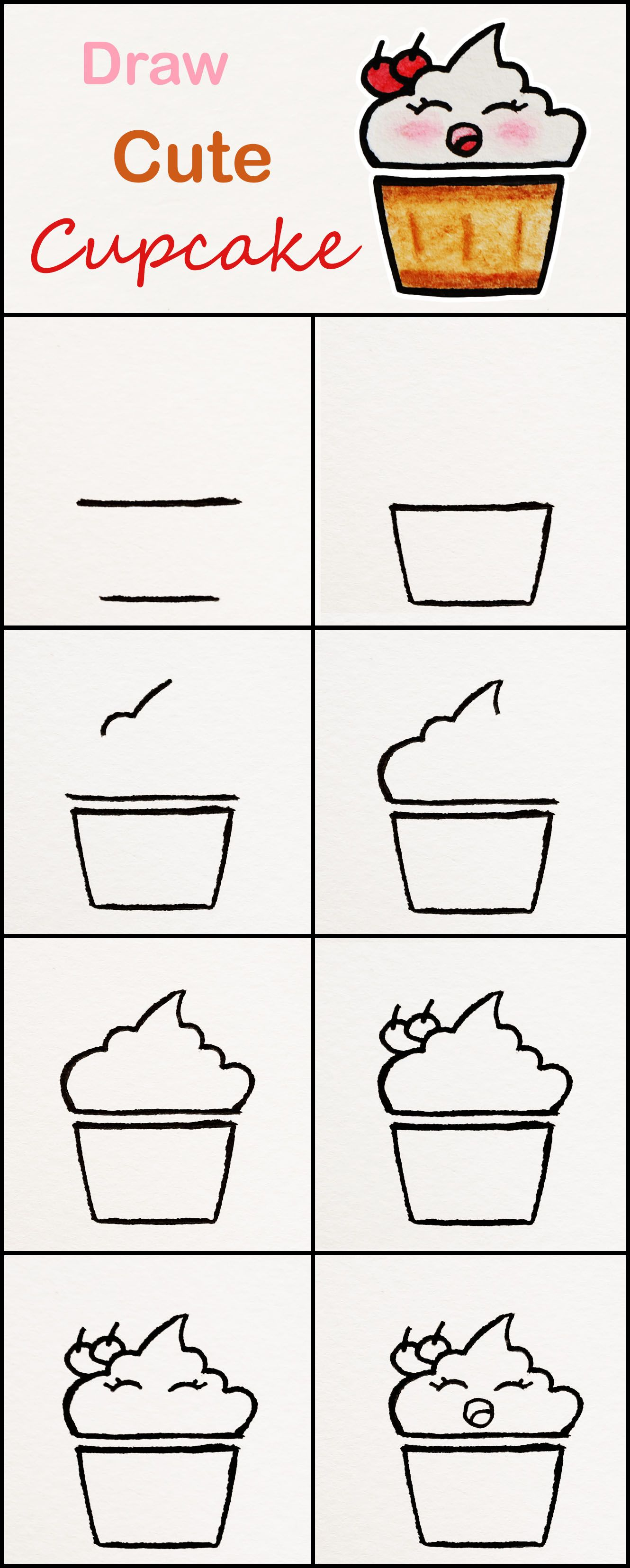 Learn How To Draw A Cute Cupcake Step By Step Very Simple Tutorial Cupcake Drawings Kawaii Tutorial Cute Easy Drawings Cupcake Drawing Kawaii Drawings