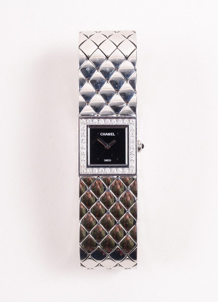 Silver Toned Stainless Steel Quilted Diamond Matelasse Watch