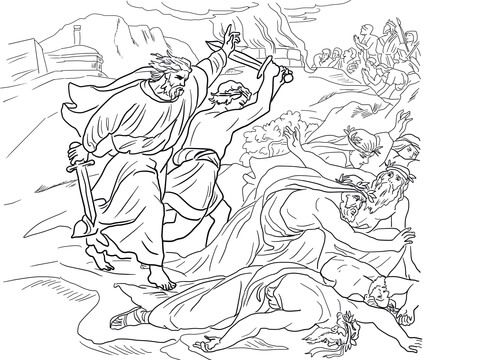 Elijah Defeats The Prophets Of Baal Coloring Page From Prophet