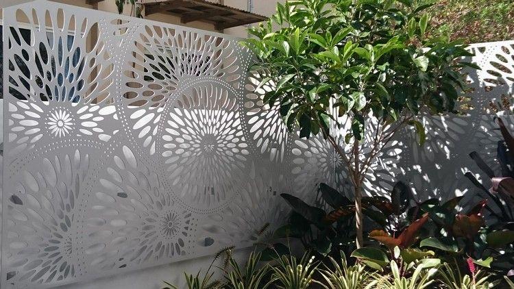 Moderner Sichtschutz Garten Heller Zaun Metall Motive Pflanzen