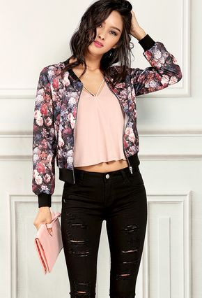 floral bomber jacket en 2019 boutiques mode ados fille mode y mode femme. Black Bedroom Furniture Sets. Home Design Ideas