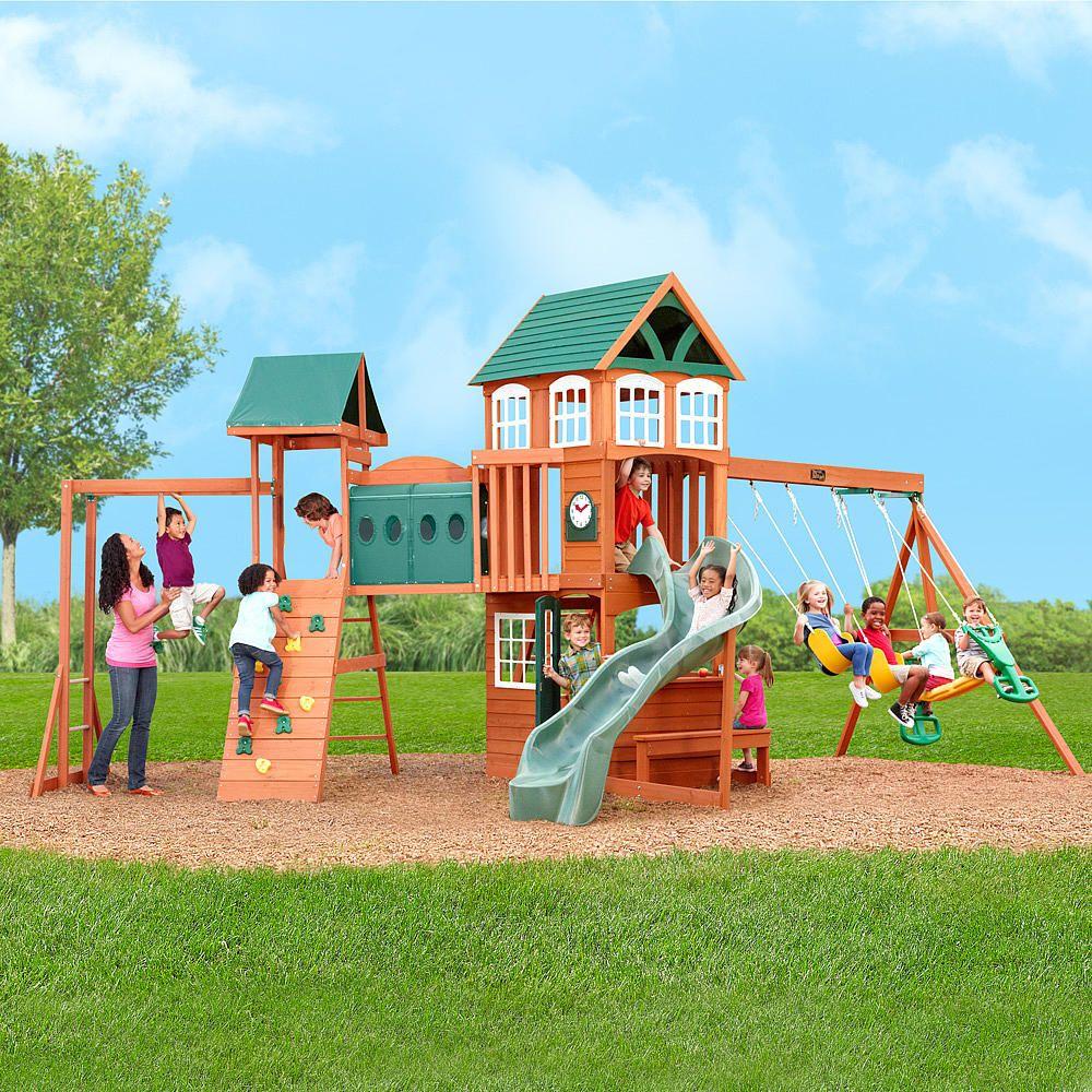 hillcrest premium wooden swing set big backyard toys