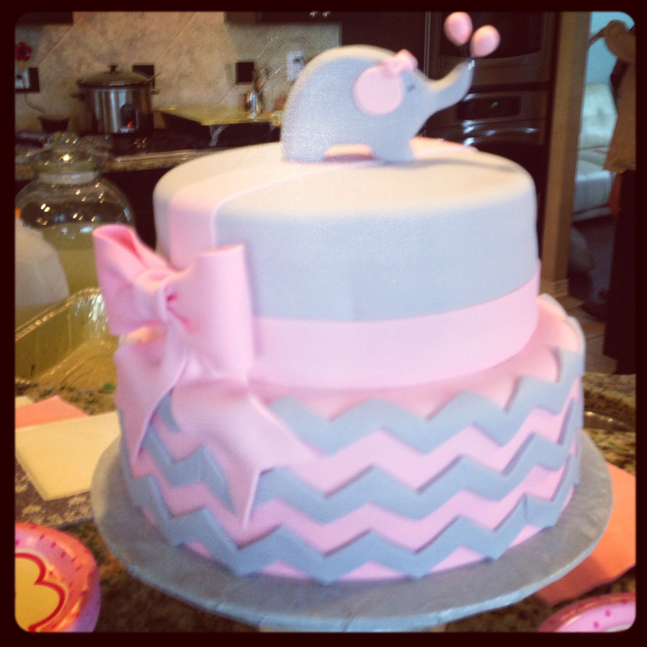 Baby shower cake Pink gray elephant chevron bows