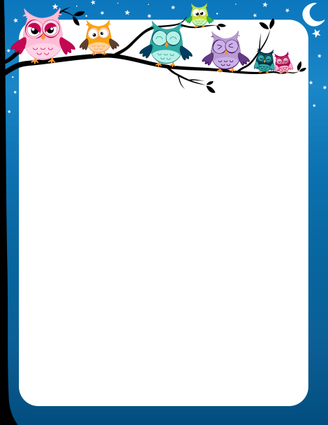 Page Border With Colorful Owls On A Tree Limb And A