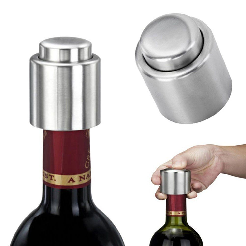 Stainless Steel Silver Bottle Stopper Opener Wine Pourer Reusable Vacuum Sealed