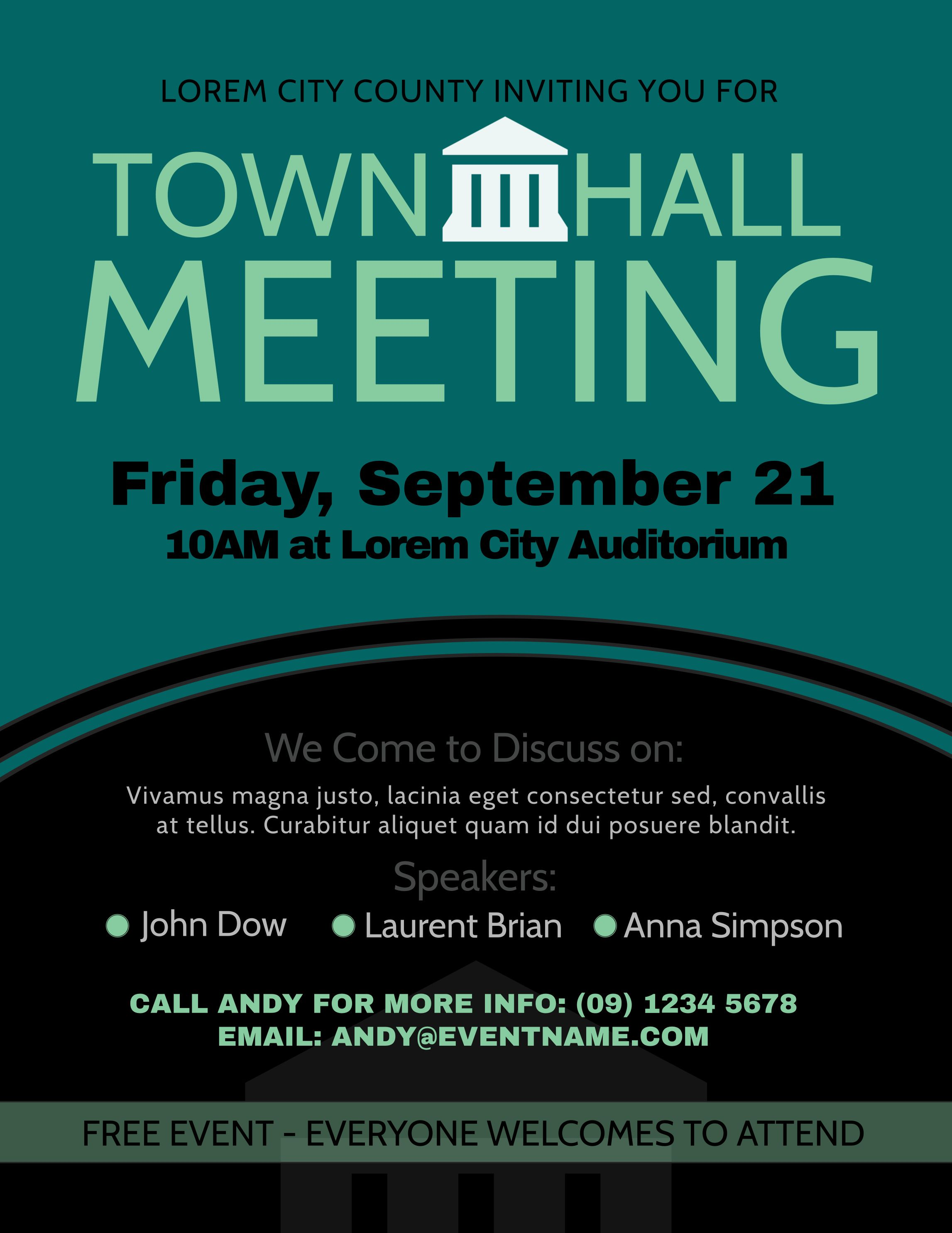 townhall meeting poster design template