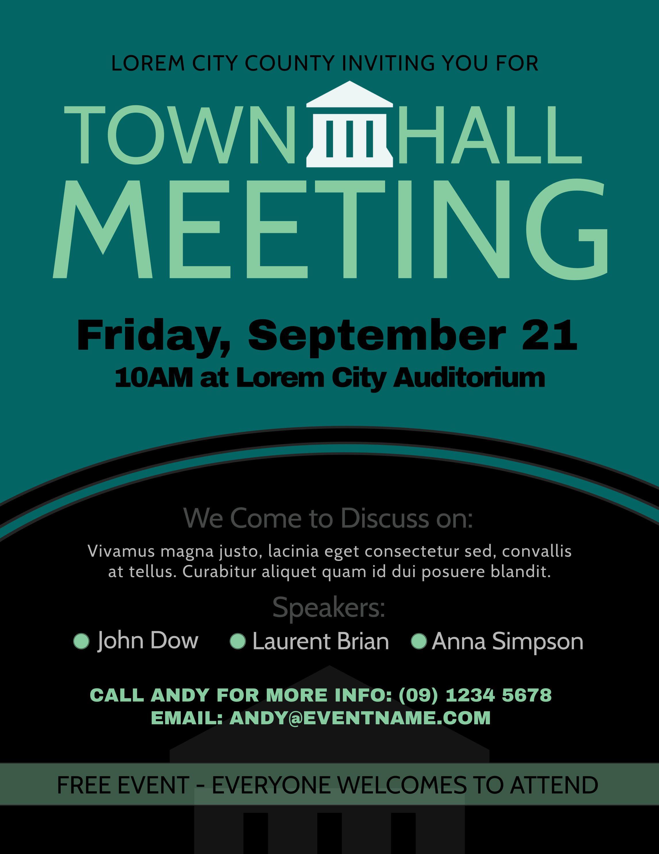 Townhall Meeting Poster Design Template Brochure Template