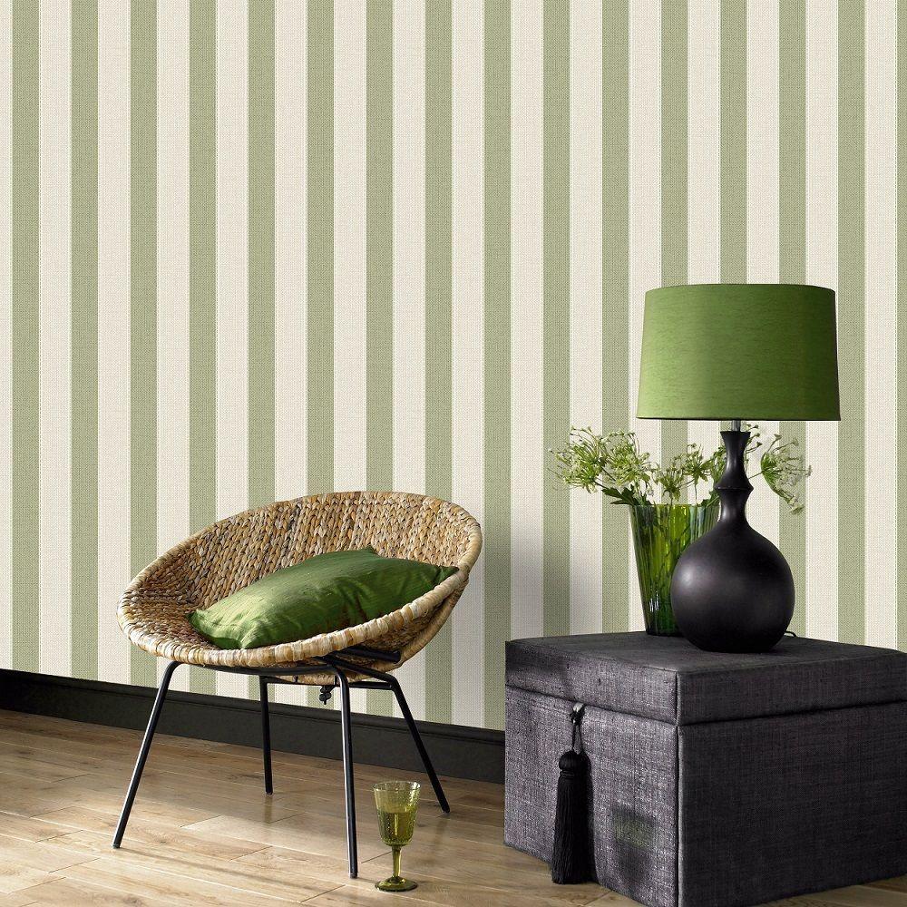 Superfresco Ticking Stripe Textured Spring Green Beige