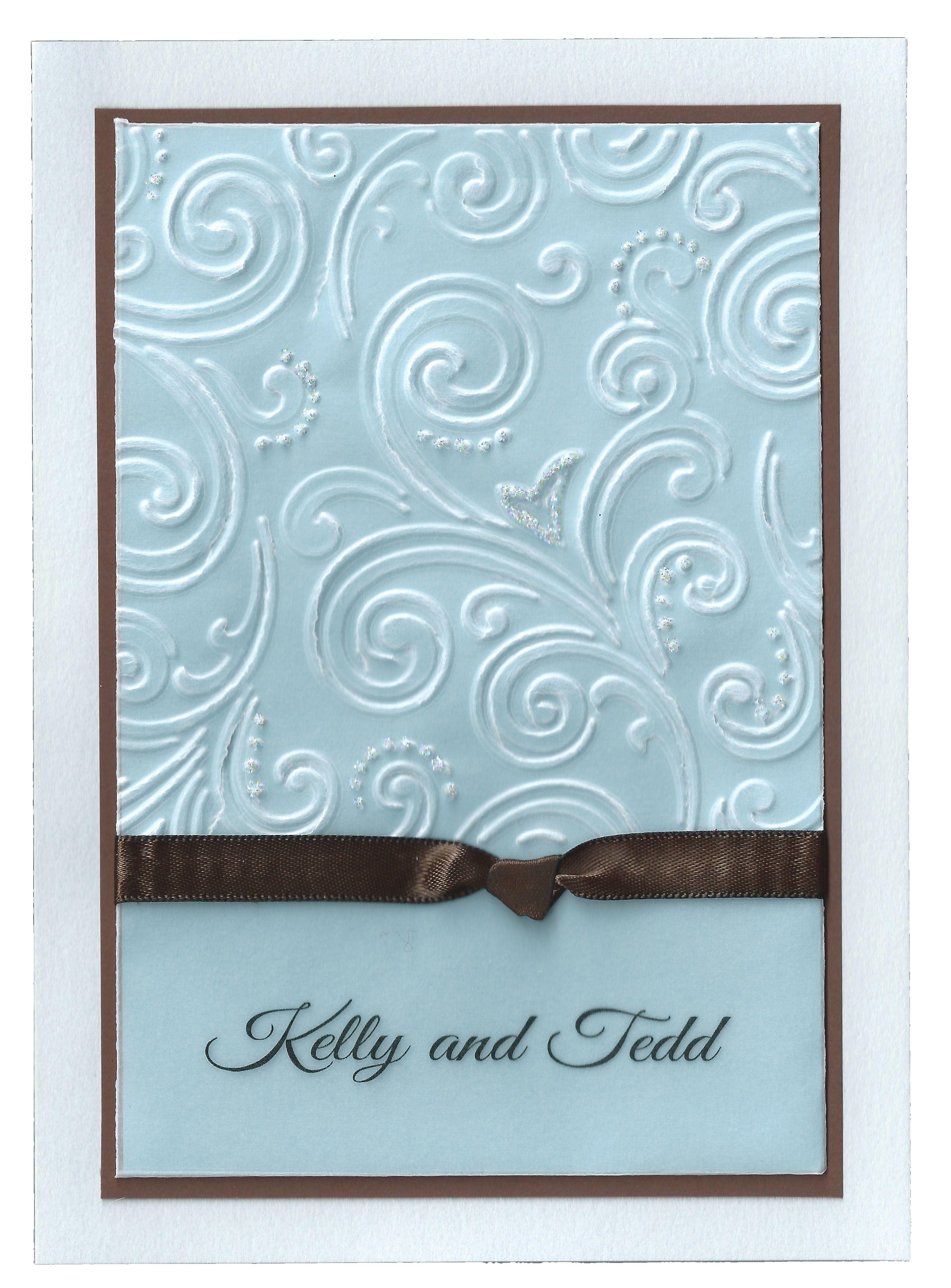 handmade card wedding invitation vellum embossing