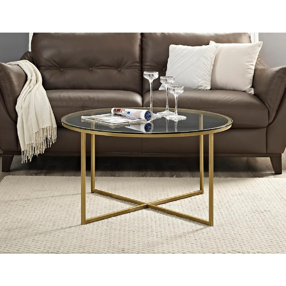 Walker Edison Furniture Company 36 In Clear Gold Medium Round Glass Coffee Table Hdf36alctggd The Home Depot Coffee Table Living Room Accent Tables Round Gold Coffee Table [ 1000 x 1000 Pixel ]
