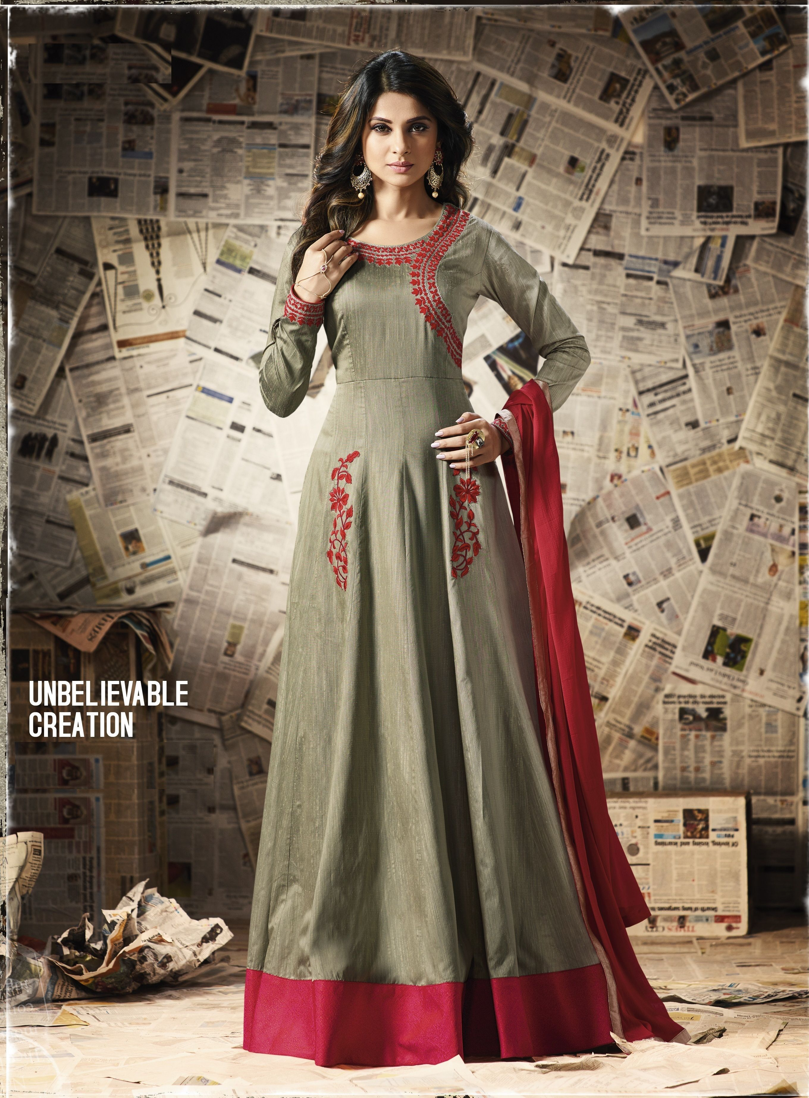 f4bf0d345c9a Fashionable Slab Cotton Grey Colour Anarkali Gown