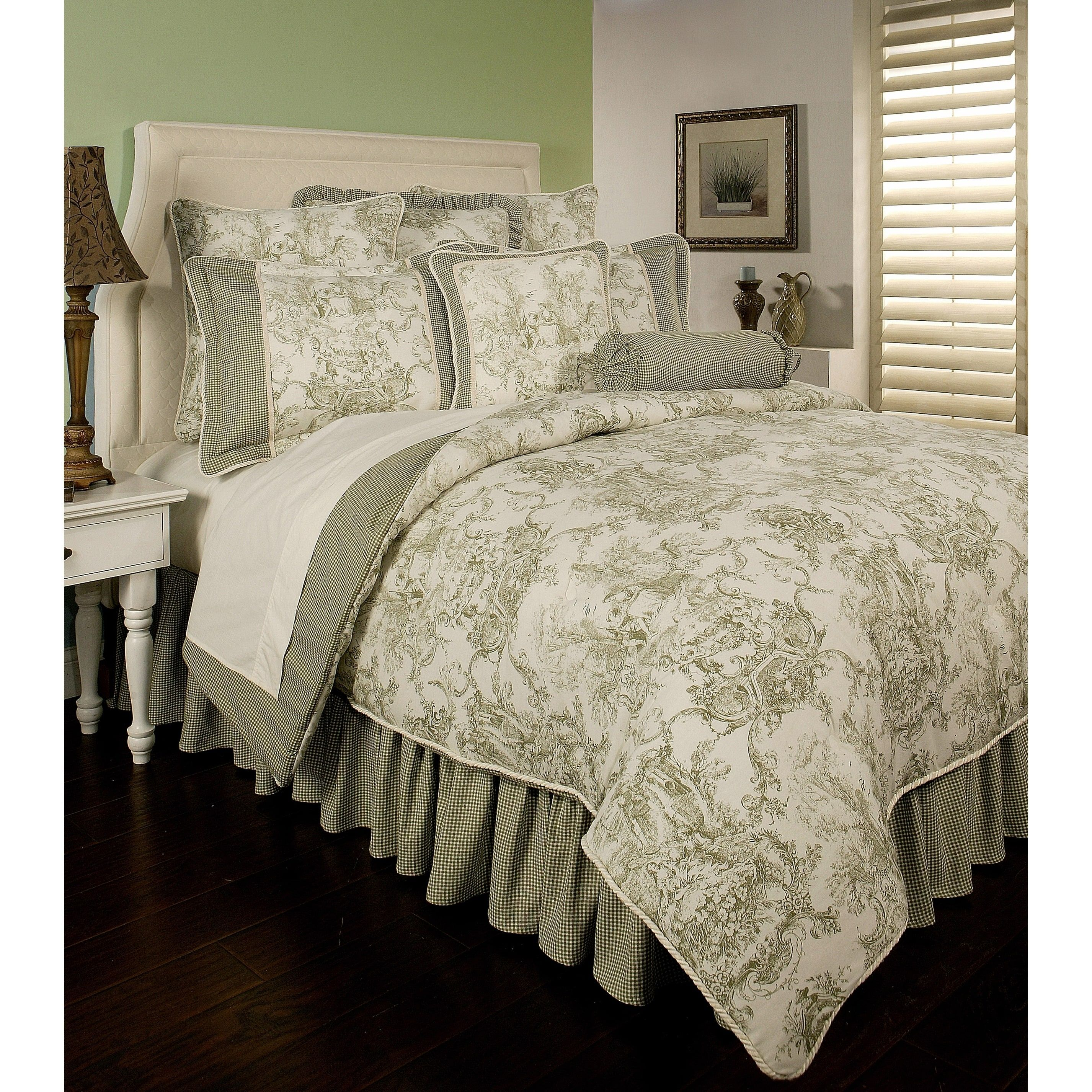 PCHF Country Toile Sage 6piece Comforter Set Luxury