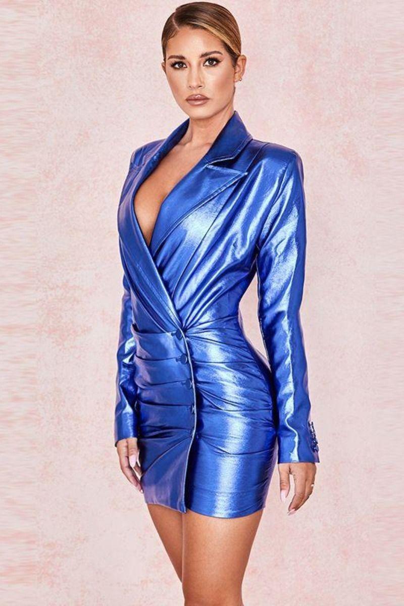 Photo of S&D co. Blue Cocktail Dress Long Sleeve Sequin PU Mini Party Dress